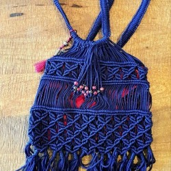 Blue and Red Macrame Bag