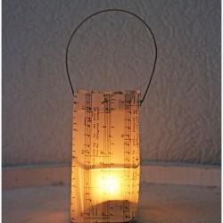 Lantern made of musical scores