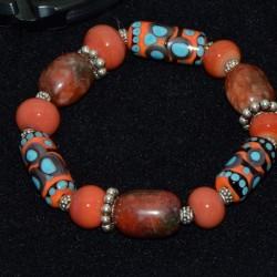 Glass beads bracelet with...