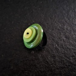 Ring Green Button Leaf