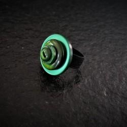 Ring Green Glitter Button